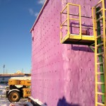 Spray foam insulation applied to the exterior of Fort St. John Fire Hall