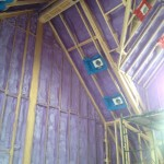 Spray foam insulation in a residential house interior